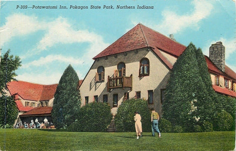 Pokagon State Park~Potawatomi Inn~Folks Outside~Kids Run Uphill~1955 Postcard | Refried Jeans Postcards
