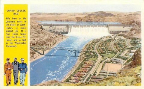 Washington~Grand Coulee Dam~Soldier, Sailor, Marine~Columbia River~1920 Postcard | Refried Jeans Postcards