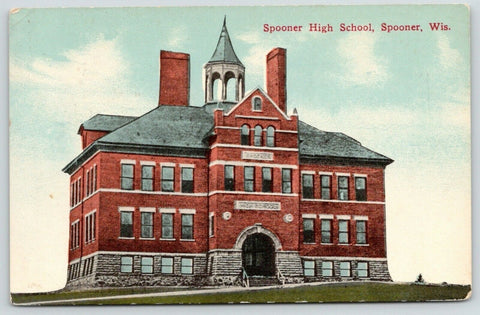 Spooner Wisconsin~Spooner High School~Tower Cupola~1913 Postcard | Refried Jeans Postcards
