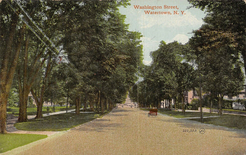 Watertown New York~Vintage c1910 Automobile on Washington Street~Summer~Postcard