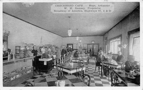 Hope AR Checkered Cafe~Where President Clinton's Mother Was A Waitress 1940s B&W