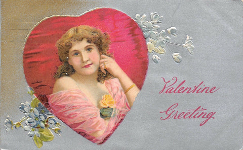 Valentine~Pink Gossamer Drape Lovely Lady in Red Heart~Silver Back Emboss~Winsch | Refried Jeans Postcards