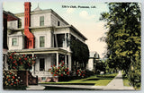Pomona CA~Nifty Chimney~Greenery Pours Off 2nd Story Porch on Elk's Club~c1910
