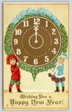 New Year~Victorian Children Shoulder Mistletoe Bound Midnight Clock~Emboss~203 C