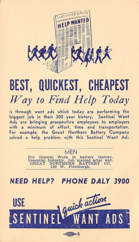 Milwaukee Sentinel Newspaper Postal~Want Ads~Great Northern Battery Sample 1930s