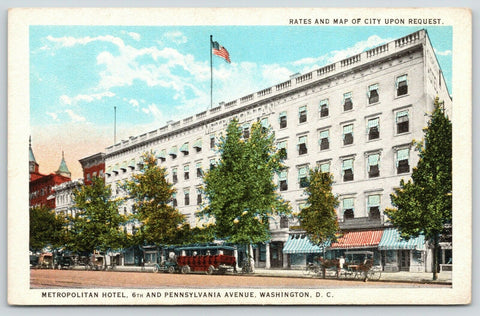 Washington DC~Metropolitan Hotel~Vintage Touring Car~Edmonds Store Awning~1920s