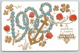 New Year~Large Forget-Me-Nots Number 1908~Anchor~Pink Clover~Gold Leaf~Germany