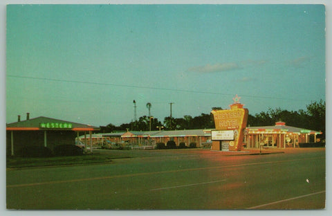 Elk City Oklahoma~Western Motel~Route 66~Neon Sign~Pool~Postcard~1960s