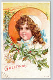 Maud Humphrey Christmas~Brown Eyed Girl in White Lace Cap~Pipe Curls~Pines~PC 53