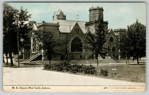 New Castle IN Octagon Tower~United Methodist Episcopal Church 1911 CU Williams