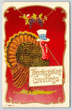 Patriotic Thanksgiving~Uncle Sam Hat Turkey~Sign in Beak~Red Gold Art Nouveau