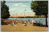 Terre Haute IN~Lifeguard Stands Up on Stand~Izaak Walton Lake Beach~1940 Linen