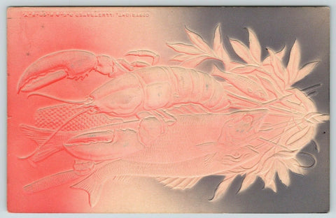 Lobster & Fisher~Red Pink Tan Gray Airbrushed~Heavily Embossed~1908 IPCC