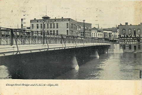 Elgin IL~Chicago St Bridge~YMCA~Young Mens Christian Assn~Rivers Restaurant~1909