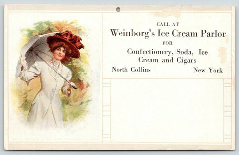 North Collins NY~Weinborg Ice Cream~Artist Signed Arthur~Under The Parasol c1910