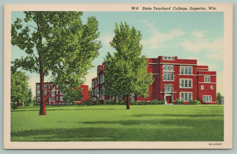 Superior WI~Great Shade Trees in Summer~State Teachers College~1938~Linen PC