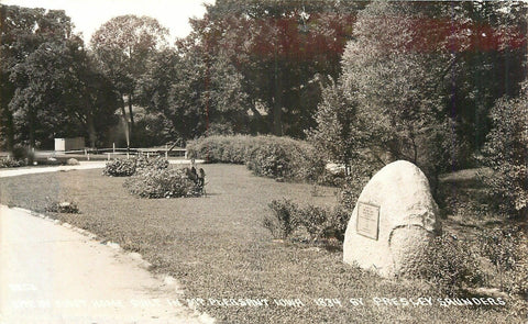 Mt Pleasant Iowa~Rock Marks Spot First House Built~1834 P Saunders~1930s RPPC | Refried Jeans Postcards