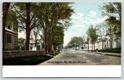 Skowhegan Maine~Outhouses (Booths?) on Water St~Long Bldg w/Belltower~c1906 PC