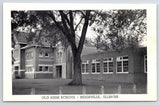 Biggsville Illinois~Old High School~B&W WC Pine Postcard 1940s