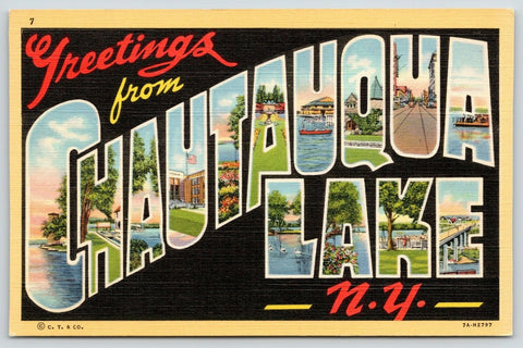 Chautauqua Lake New York~Large Letter Linen Postcard~Main Street~Black Back~1937