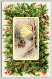 Christmas~Travelers Meet on Snowy Mountain Trail~Holly Berry Back~John Winsch