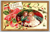 Victorian Christmas~Girls Play Under the Tree~Jack in Box~Doll~Gold Leaf Emb~ASB