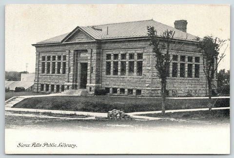Sioux Falls South Dakota~Carnegie Public Library-Now City Hall~Stone Pile~c1910
