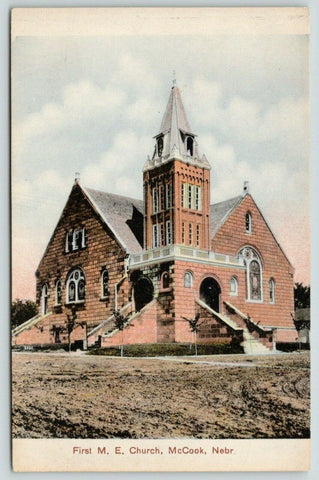McCook Nebraska~First Methodist Epsicopal ME Church~Muddy Dirt Road~c1910