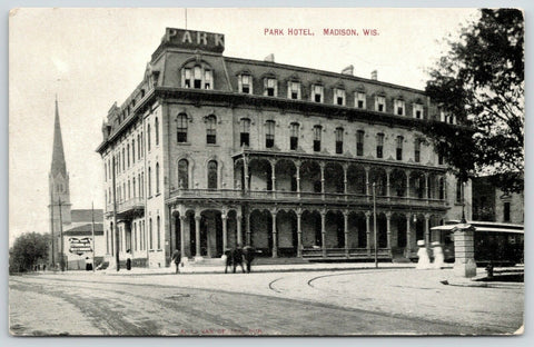 Madison WI~Park Hotel on S Carroll St~2nd Empire Architecture~Razed 1961~c1910