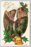 California Christmas~Holly Berry Gold Bells @ Yosemite Valley Falls~Emboss 1917