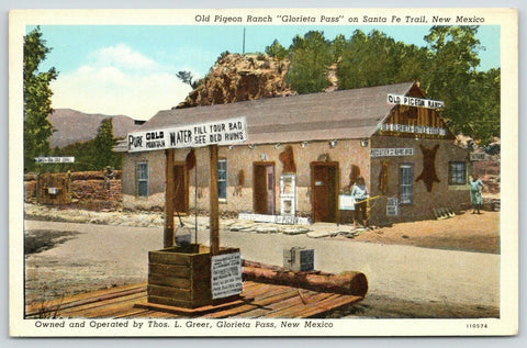Glorieta Pass New Mexico~Old Pigeon Ranch~Gold Mountain Water Well~1940s Linen
