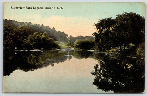 Omaha Nebraska~Trees Reflect in Riverview Park Lagoon~Fishermen~c1910 Postcard