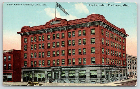 Rochester Minnesota~Hotel Zumbro~Ellerbe & Round Architects~Pennant on Roof~1910