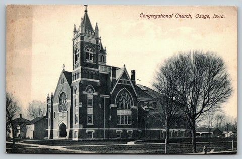 Osage Iowa~Congregational Church~Homes Down Street~c1910 B&W Postcard