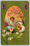 Easter~Lil Angel Coaxes Chicks Out Of Shells~Egg Oval~Snowdrop Lilies~Germany