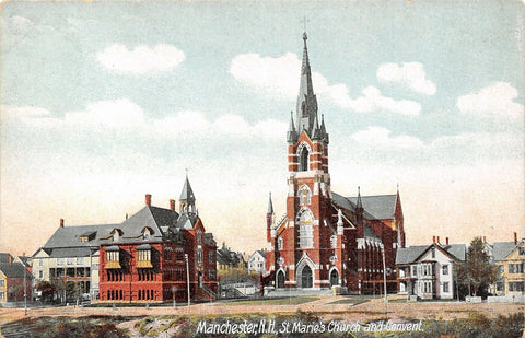 Manchester New Hampshire~St Marie's Church & Convent~Big Homes~1908 Postcard