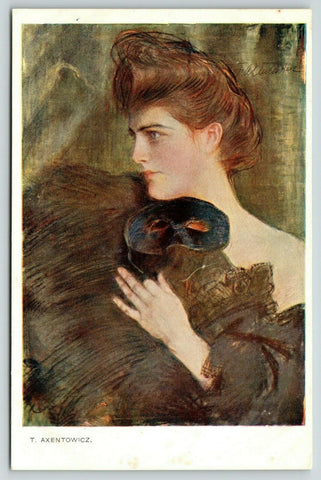 T Axentowicz~Lovely Lady Holds onto Fur~Masquerade Ball Mask~Czech Artist Signed