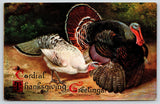 Thanksgiving~Tom Turkey & White Hen~Cordial Greeting~Artist Alfred Schonian~1912
