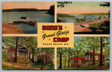Osage Beach Missouri~Bond's Grand Glaize Camp~Cottages~Dock~1950 Linen Postcard