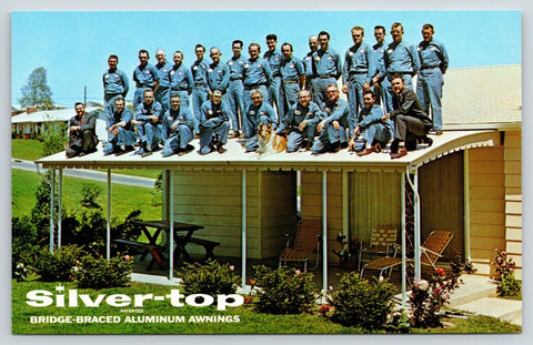 White Marsh MD~Silver-Top Aluminum Awnings~26 Men & Dog on Roof~Adv Postcard