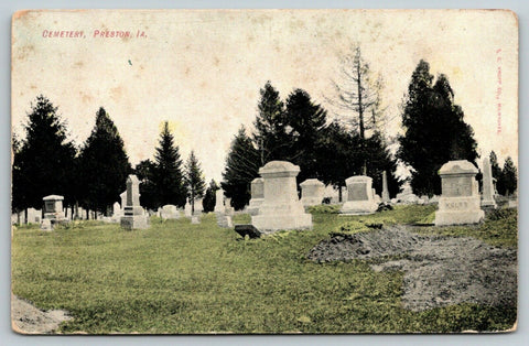Preston Iowa~Cemetery Tombstones~Koltz~Fresh Grave~c1908 Postcard