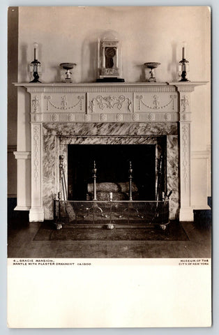 New York City~Mayor Residence~Gracie Mansion Interior~Fireplace Mantle~1930 RPPC