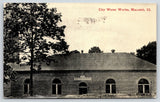 Macomb Illinois~Lively Place~City Water Works Close~Bicycle Leans on Tree~1914