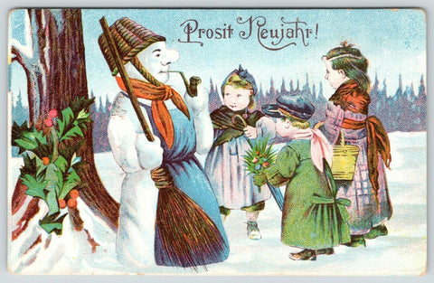 Christmas New Year~Snowman in Wicker Basket Helmet~Pipe~Apron~Children~Embossed