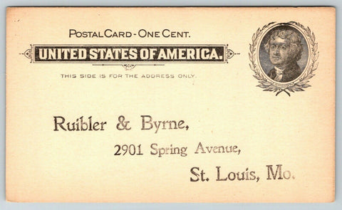 St Louis Missouri~Ruibler & Byrne~Architects Cabinet & Card File Co~c1890 Postal | Refried Jeans Postcards