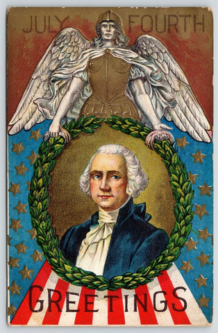Patriotic~July Fourth~George Washington~Roman Angel Warrior~Flag~Gold Emboss