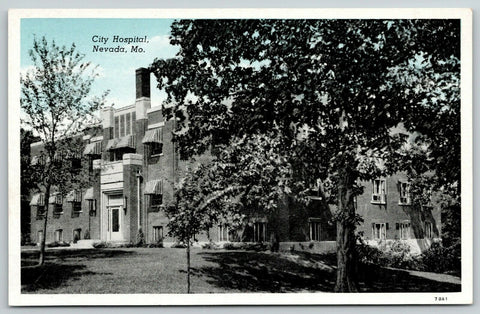 Nevada MO Stupendous Shade Tree~Two-Color Chimney~City Hospital 1920s Bluesky PC