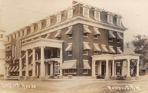 Newport New Hampshire~Newport House Hotel~Huge Flag~Rocking Chairs~c1918 RPPC