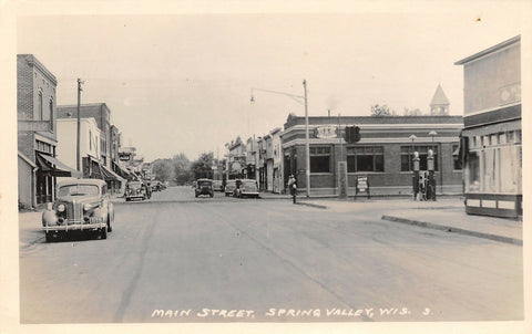 Spring Valley WI~Main Street~Specialized Gas Station~Lubrication~1939 RPPC