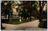 Pittsfield MA~Maplewood Hotel~Victorian Lady in Center of Lawn~Sign on Road~1914